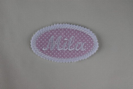 Oval patch with embroidered name